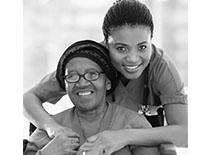 Images of young lady hug older lady