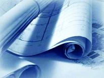 Blueprints on a desk